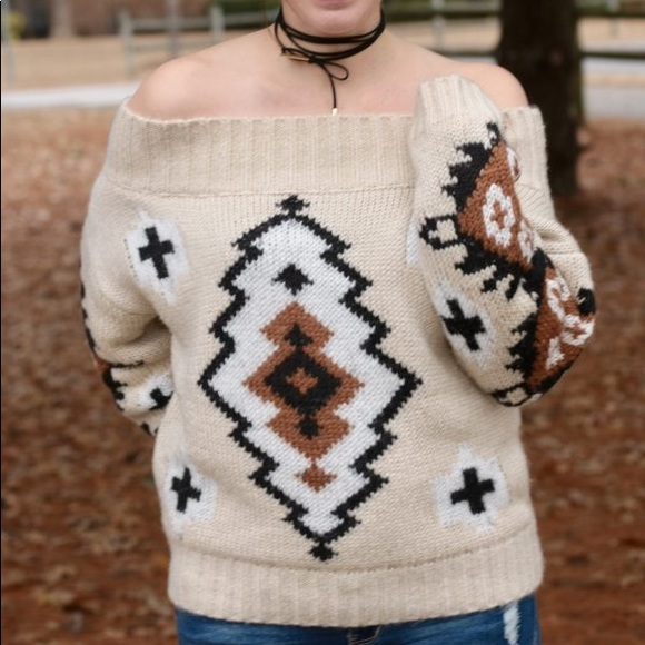 chicwish Sweaters - Aztec Off the Shoulder Sweater